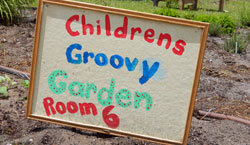 Photo of Bonner Center Community Garden Sign.